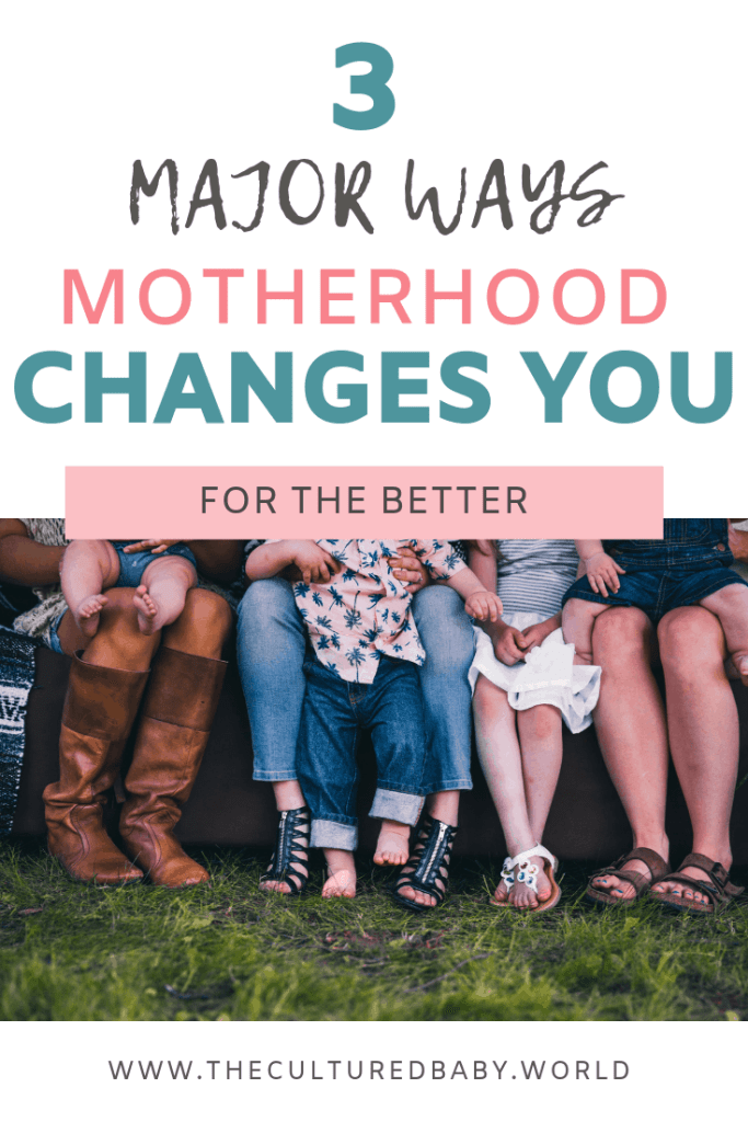 Ways Motherhood Changes You | close up of the legs and feet of moms and their babies