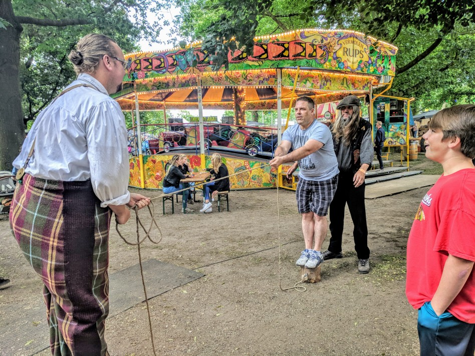 Jason and Chris playing a game with the local entertainers at Festival Trek