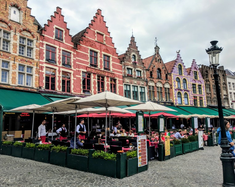 The restaurants in the historic center of Bruges