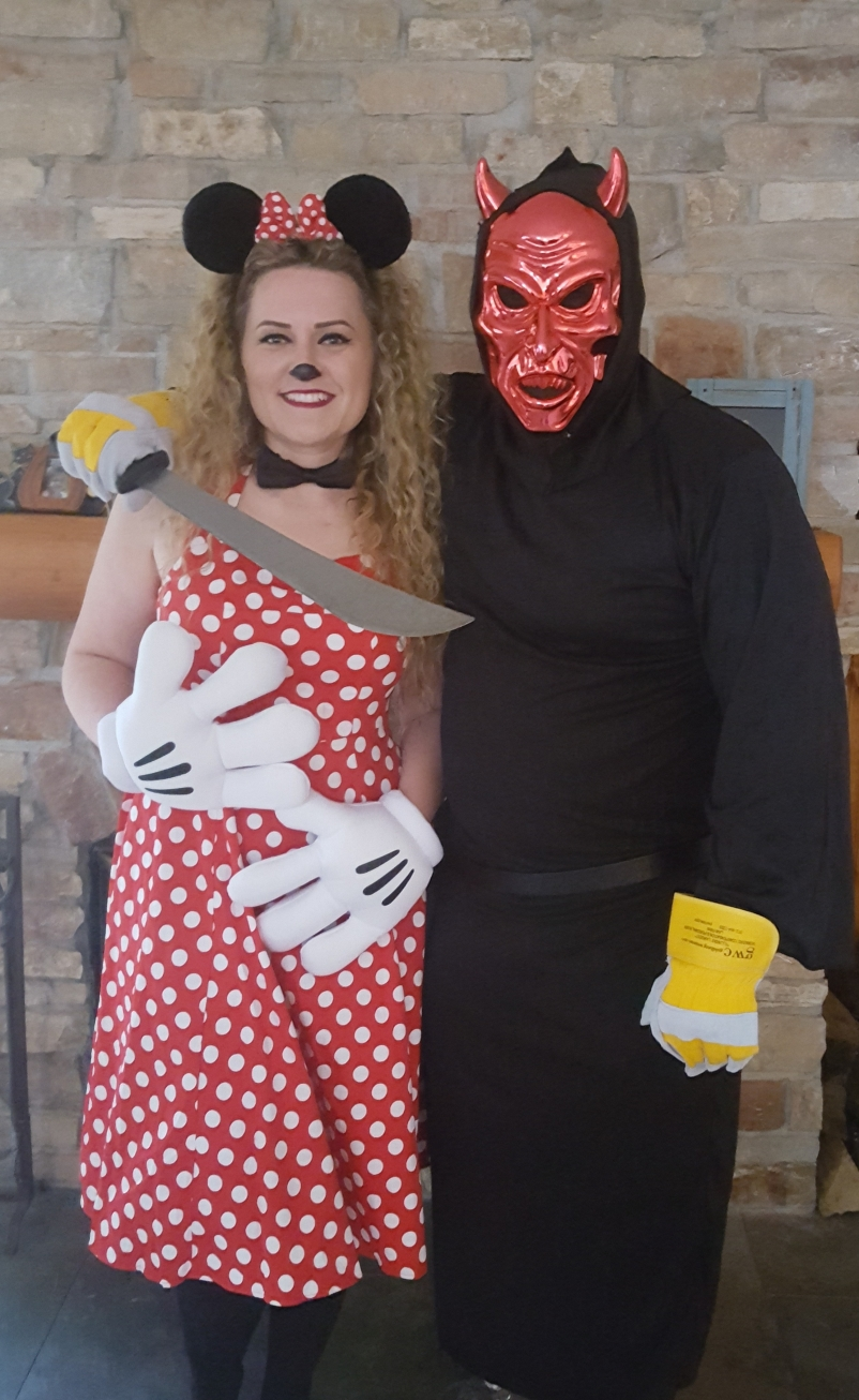 Minnie Mouse Brandi and my creepy husband Jason Halloween 2016.
