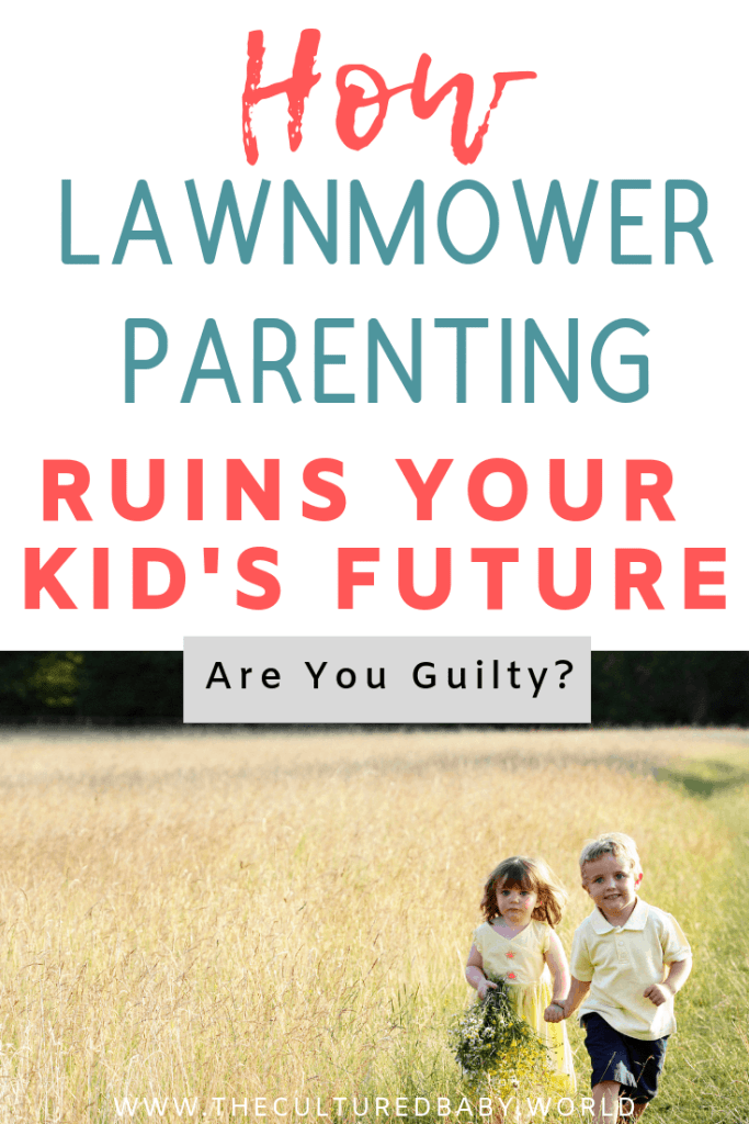 A little girl with a basket of flowers in one hand and a little boy holding her hand in a tall grassy field | lawnmower parenting