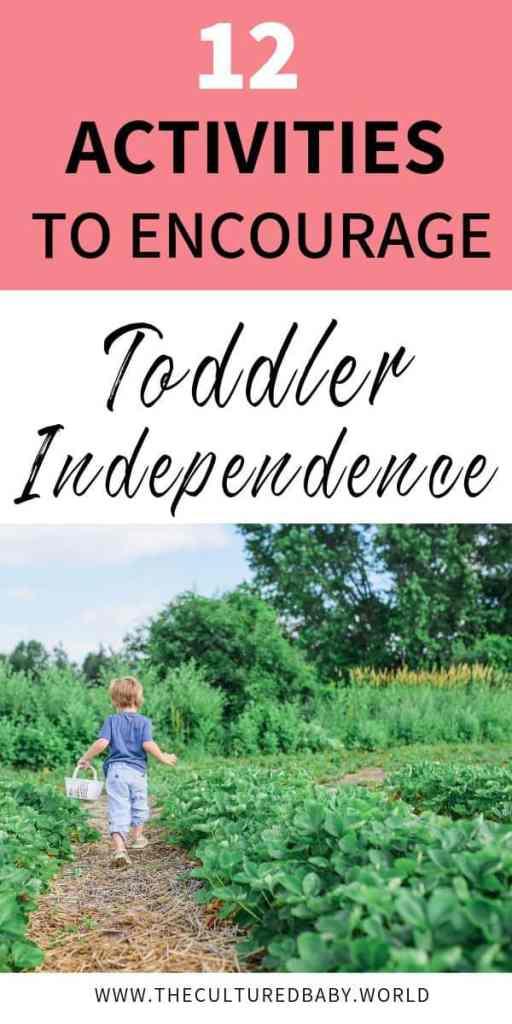 Toddler walking through a garden with a basket | encouraging toddler independence