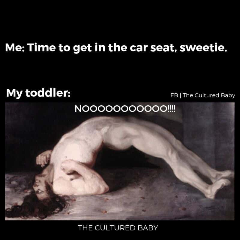getting in the car seat|man arching his back meme