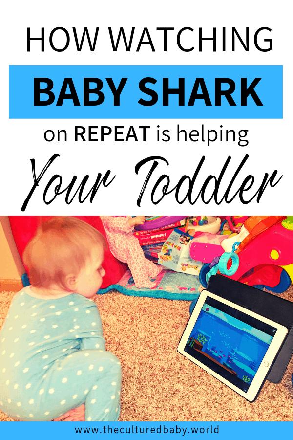 Toddler watching baby shark on iPad